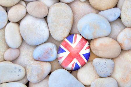 union beach: UK Pebble. United Kingdom Union Jack flag pebble. Stock Photo