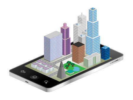 coming out: 3D cityscape coming out of tablet phone vector illustration Illustration