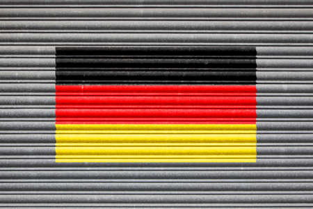 shutter: Germany Metal Shutter. German flag on metal roller shutter door Stock Photo