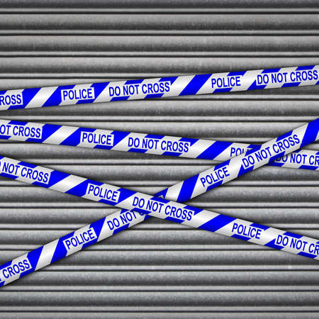 crime scene tape: Metal shutter with police, do not cross tape.