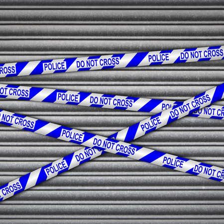crime scene: Persiana de metal con la policía, no cruza la cinta.