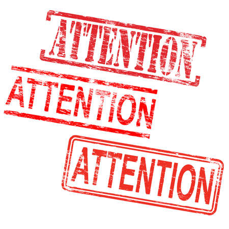 grungy: Attention red rubber stamp grungy vector illustrations