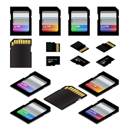 sd: SD and Micro SD memory flash cards vector illustration Illustration