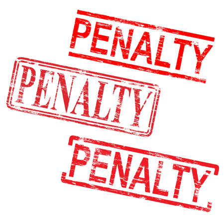 Penalty red rubber stamp grungy vector illustrations