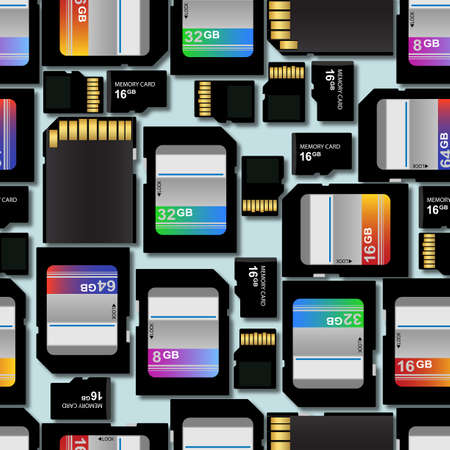 that: SD and Micro SD memory flash cards repeating background. Tileable wallpaper that repeats left, right, up and down