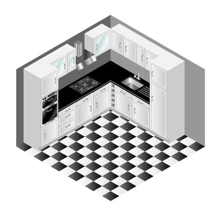 extractor: Isometric modern white kitchen cupboards and tiled floor vector illustration Illustration
