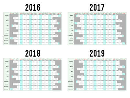 year: Full year wall planners for 2016, 2017, 2018 and 2019. Vector illustration