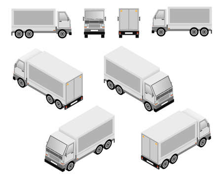 haul: Isometric and plan layout truck vector illustrations showing four views Illustration