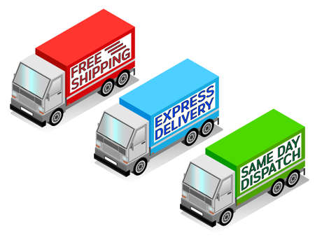 Isometric delivery truck vectors, free shipping, express delivery, and same day dispatch Illustration