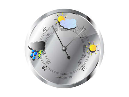 Metal barometer with weather symbols vector illustration