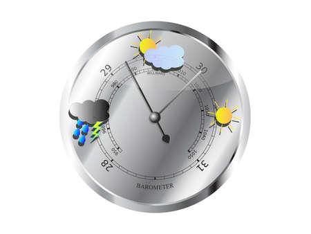 Metal barometer with weather symbols vector illustration