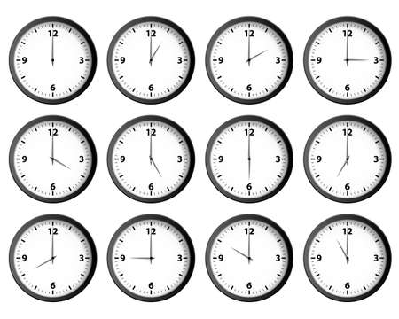 12: Twelve clocks set at each hour vector Illustration