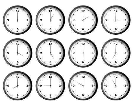 Twelve clocks set at each hour vector Illustration