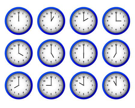 Twelve modern clocks set at each hour intervals vector