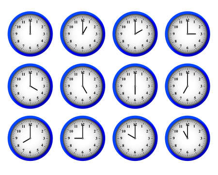 Twelve modern clocks set at each hour intervals vector