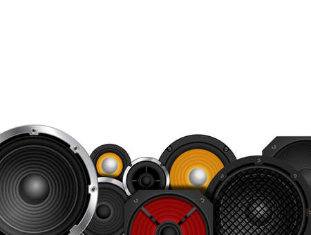 dance and electronic: Different types of speaker against white background copy space Stock Photo