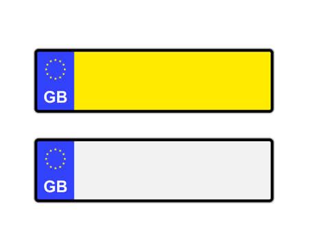 nombres: Blank jaune et blanc du Royaume-Uni plaques d'immatriculation avec le symbole de l'UE Illustration