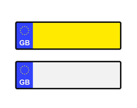 numbers: Blank yellow and white UK number plates with EU symbol