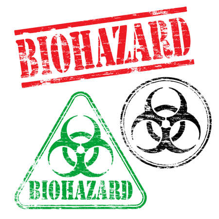 grungy: Biohazard grungy rubber stamp symbol vector illustrations