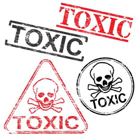 estampilla: Toxic skull and bones grungy rubber stamp vector illustrations Vectores