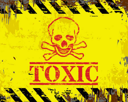 Giftige schedel en gekruiste grungy emaille metalen bord