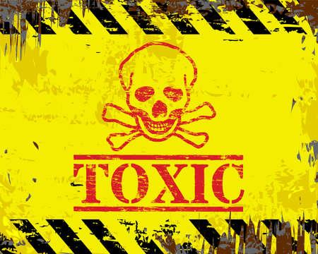 beaten: Toxic skull and crossbones grungy enamel metal sign Illustration