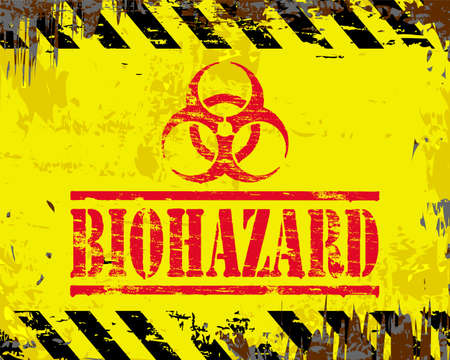 dangerous: Biohazard and symbol on grungy enamel metal sign
