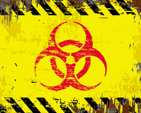biohazard: Biohazard symbol on grungy enamel metal sign