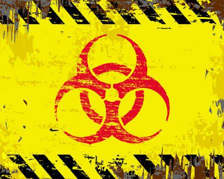 riesgo biologico: símbolo de riesgo biológico en la muestra del metal del esmalte sucio Vectores