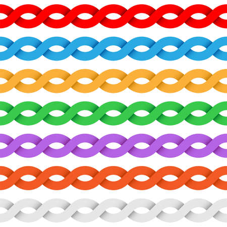 twisted: Repeating tileable twisted ribbon colored border elements