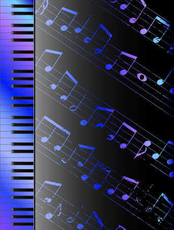 chord: Piano keyboard and random notes musical background Illustration