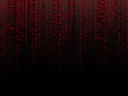 hexadecimal: Fading red letters and numbers alphanumeric data background