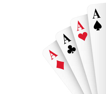 4 of a kind: Four of a kind aces poker hand illustration