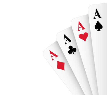 Vier einer Art Asse Poker Hand Illustration