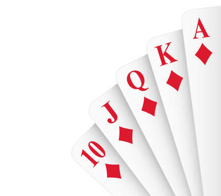 Diamonds suit royal flush poker hand