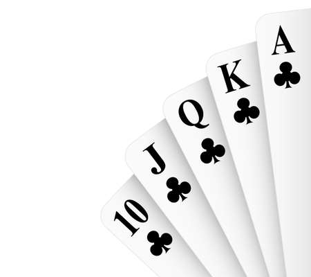 royal flush: Clubs suit royal flush poker hand
