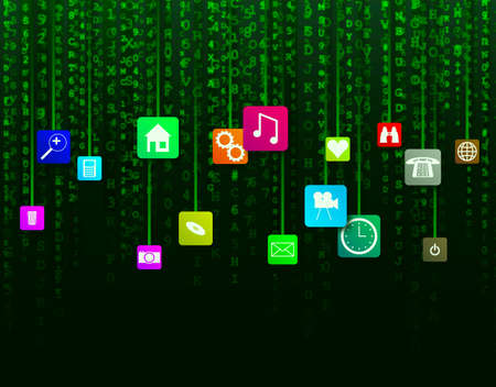 fading: Fading green data and app icons computer background