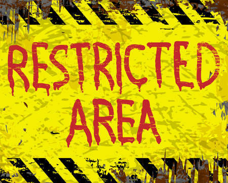 restricted area sign: Restricted area painted grungy enamel metal sign