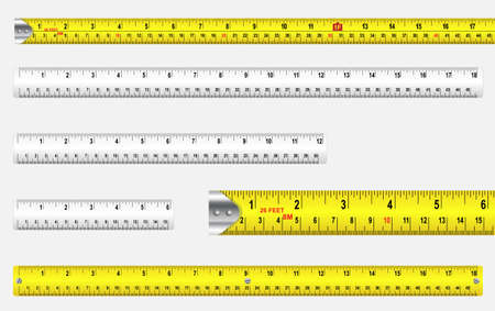 Rulers and tape measures with metric and imperial markings. Ilustrace