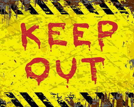 keep out: Keep out painted grungy enamel metal sign