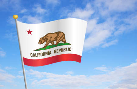 california flag: State of California flag against cloudy blue sky background