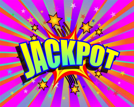 won: Jackpot word and stars on colorful exploding background