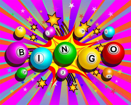 Bingo balls word on colorful cartoon exploding background