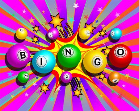Bingo balls word on colorful cartoon exploding background Illustration