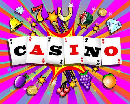bandits: Casino playing cards and slot machine symbols on colorful cartoon exploding background Illustration