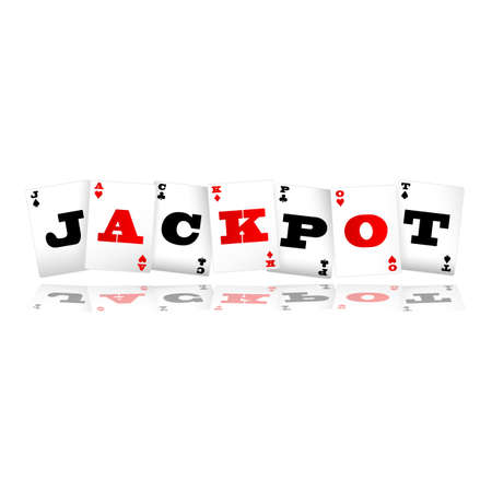 stake: Playing cards spelling jackpot  illustration Illustration