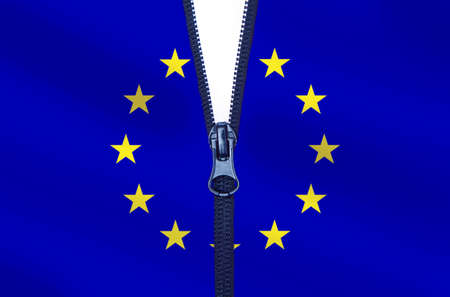 Zipped European Union flag. EU breakup concept