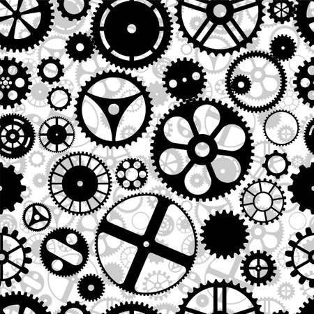 machinery machine: Repeating gear wheels silhouette background. Illustration