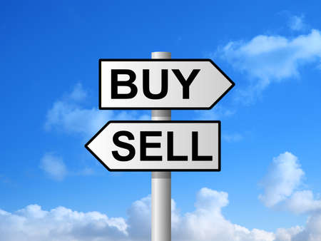 sell: Buy and sell choice sign post against blue sky Stock Photo