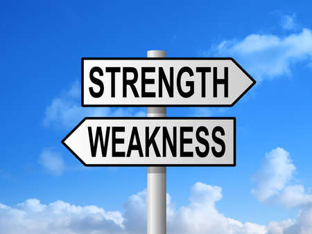 weakness: Strength and weakness choice sign post against blue sky